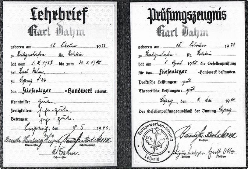 Der Gesellenbrief des jungen Karl Dahm