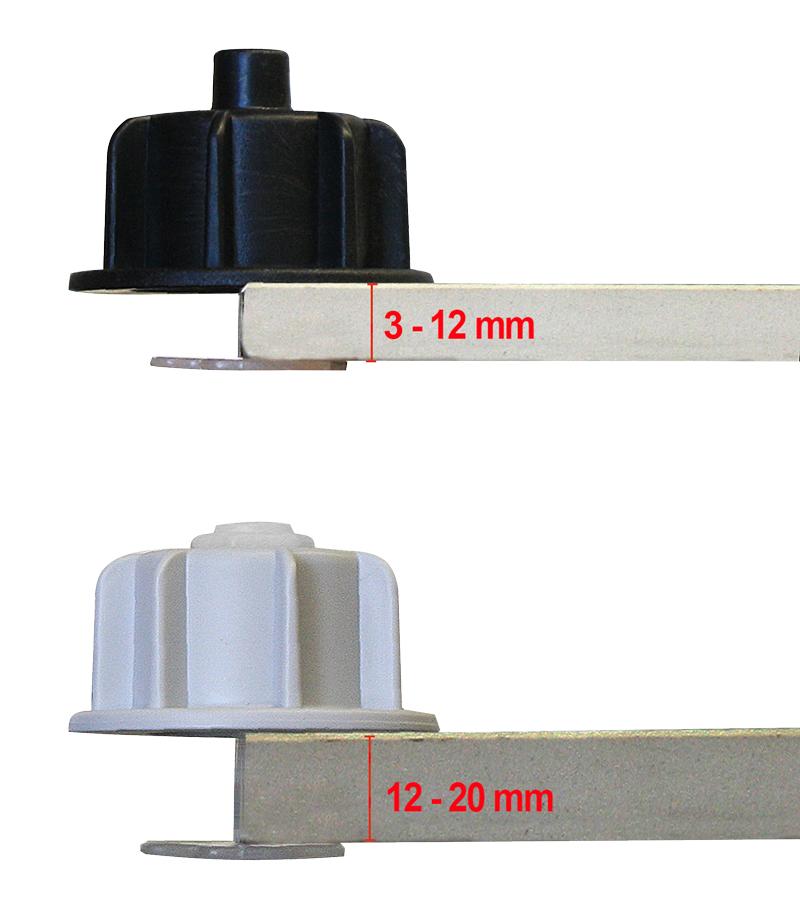 Schwarze Zughauben: 3-12 mm Fliesenbreite; Graue Zughauben: 12-20 mm Fliesenbreite