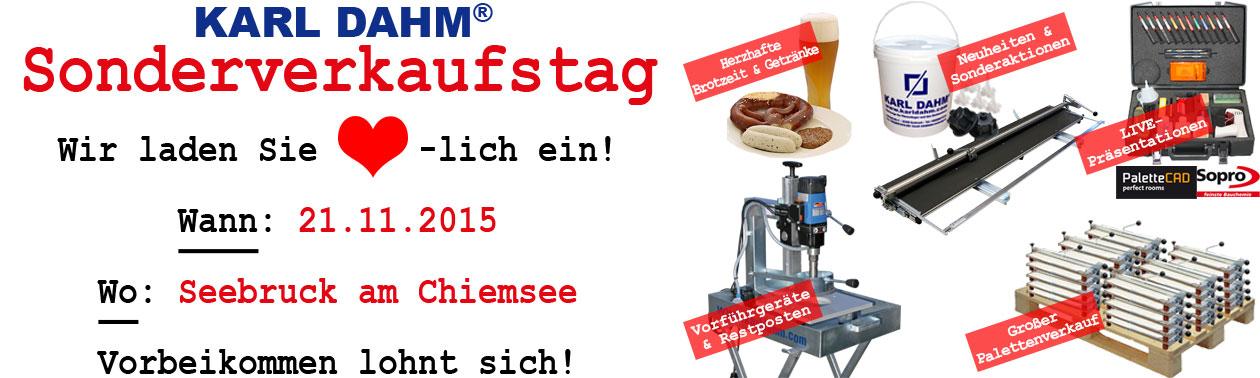 Karl Dahm Sonderverkaufstag am 21.11.2015