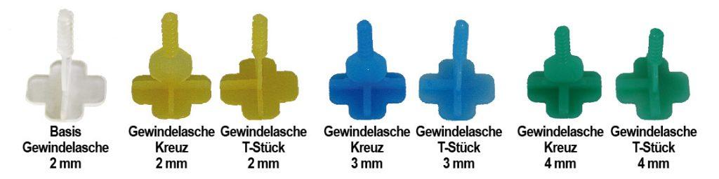 Nivelliersystem verschiedene Gewindelaschen