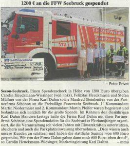 Spendenanzeige Freiwillige Feuerwehr Seebruck - KARL DAHM