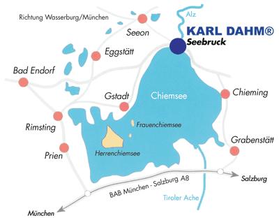 Anfahrtbeschreibung KARL DAHM Seebruck am Chiemsee