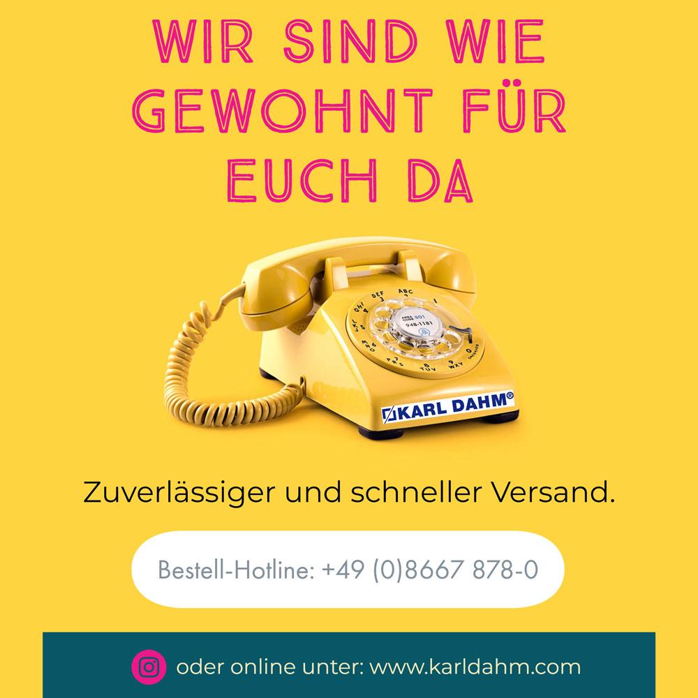 Wir sind wie gewohnt für Euch da - Karl Dahm Corona-Virus - gelbes Telefon