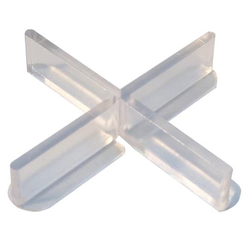 Transparente Fliesenkreuze mit abbrechbarem Flügel für die Randverlegung