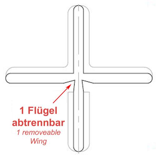 1 Flügel abtrennbar bei den transparenten Fliesenkreuzen von KARL DAHM